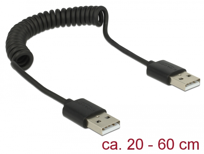 Cable USB 2.0-A male / male coiled cable Delock 83239
