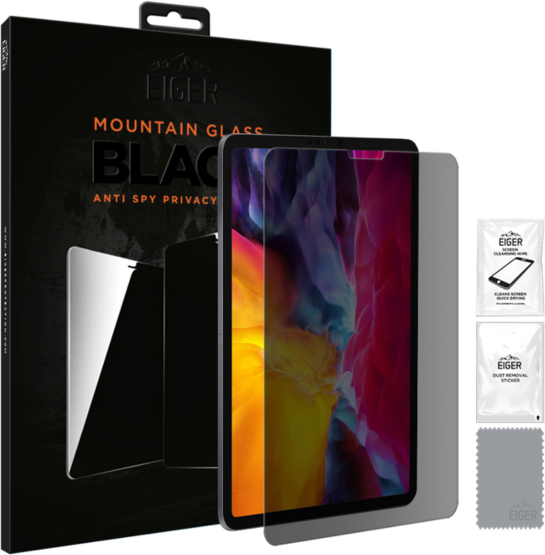 Eiger EGMSP00130 Mountain Black Anti Spy Privacy Glass Screen Protector for Apple iPad Pro 11 (2018) & (2020)