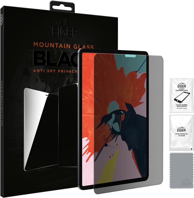 Eiger EGMSP00126 Mountain Black Anti Spy Privacy Glass Screen Protector for Apple iPad Pro 12.9 (2018) & (2020)
