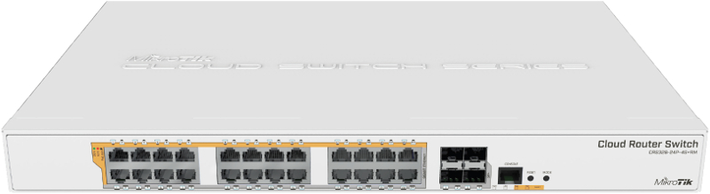 Gigabit Ethernet PoE router/switch 1U 24 θυρών Gigabit Ethernet και 4 θυρών 10Gbps SFP+ MikroTik CRS328-24P-4S+RM